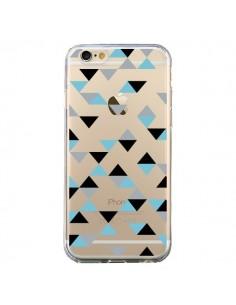 Coque iPhone 6 et 6S Triangles Ice Blue Bleu Noir Transparente - Project M