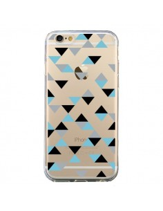 Coque Triangles Ice Blue Bleu Noir Transparente pour iPhone 6 et 6S - Project M