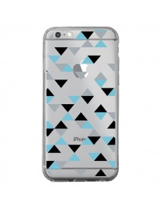 Coque iPhone 6 Plus et 6S Plus Triangles Ice Blue Bleu Noir Transparente - Project M