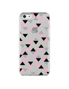 Coque iPhone 5C Triangles Pink Rose Noir Transparente - Project M