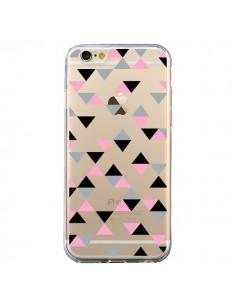 Coque iPhone 6 et 6S Triangles Pink Rose Noir Transparente - Project M