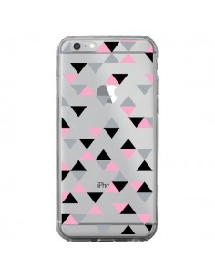 Coque iPhone 6 Plus et 6S Plus Triangles Pink Rose Noir Transparente - Project M