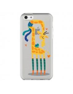 Coque iPhone 5C L'oiseau et la Girafe Amour Love Transparente - Maria Jose Da Luz