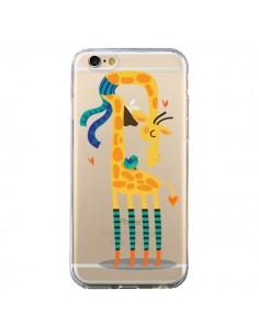 Coque iPhone 6 et 6S L'oiseau et la Girafe Amour Love Transparente - Maria Jose Da Luz