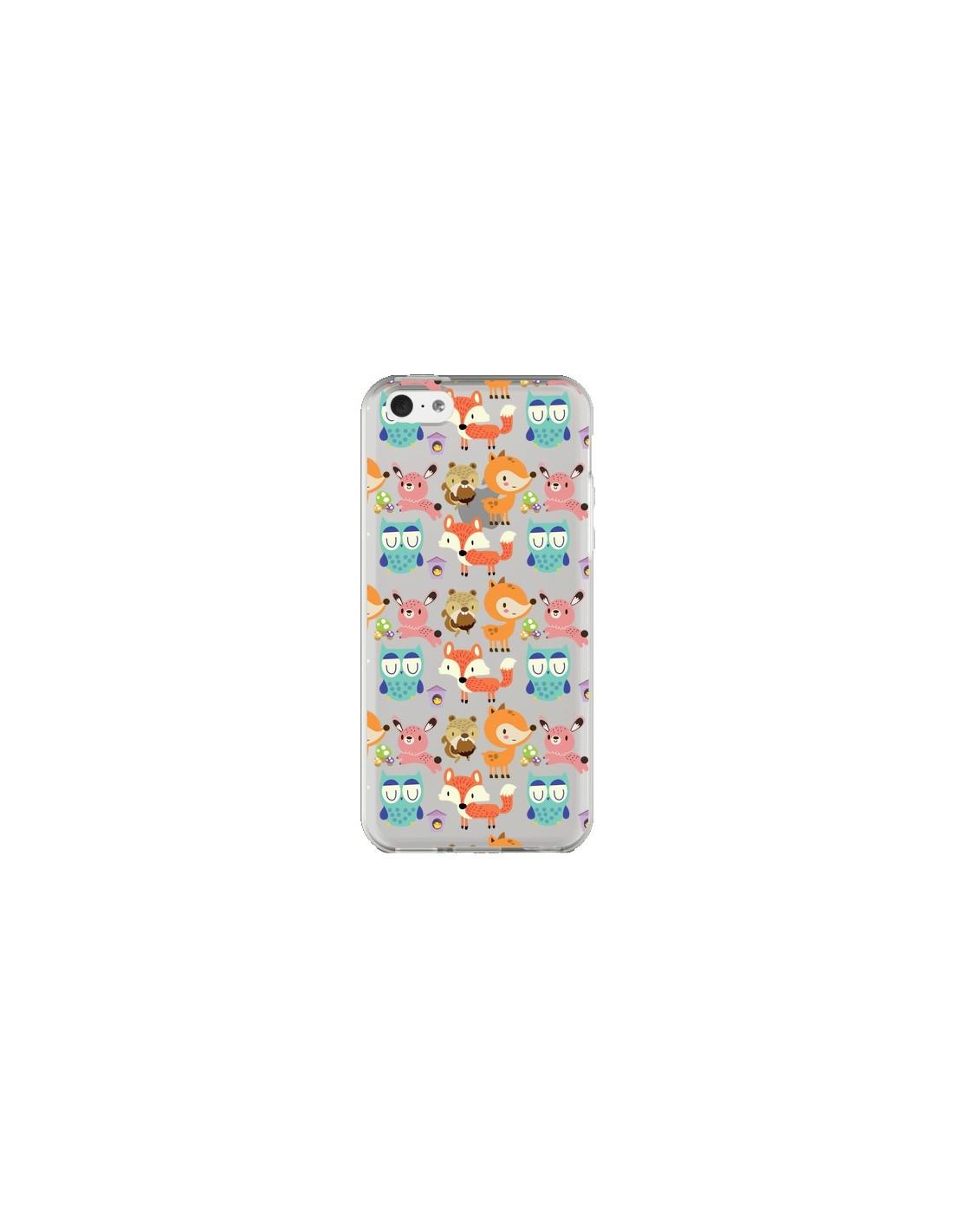 coque iphone 5c renard ecureuil lapin hibou transparente maria jose da luz