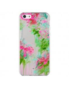 Coque Fleur Flower Rose Vert Transparente pour iPhone 5C - Ebi Emporium