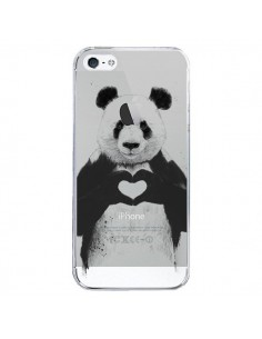 Coque iPhone 5/5S et SE Panda All You Need Is Love Transparente - Balazs Solti