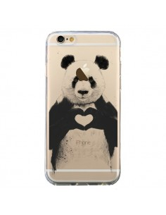 Coque iPhone 6 et 6S Panda All You Need Is Love Transparente - Balazs Solti