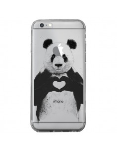 Coque iPhone 6 Plus et 6S Plus Panda All You Need Is Love Transparente - Balazs Solti