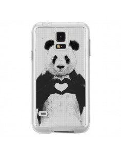 Coque Panda All You Need Is Love Transparente pour Samsung Galaxy S5 - Balazs Solti