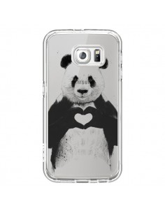Coque Panda All You Need Is Love Transparente pour Samsung Galaxy S6 - Balazs Solti
