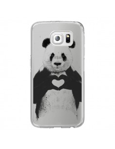 Coque Panda All You Need Is Love Transparente pour Samsung Galaxy S6 Edge - Balazs Solti