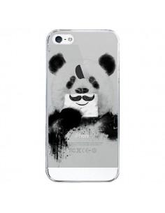 Coque iPhone 5/5S et SE Funny Panda Moustache Transparente - Balazs Solti