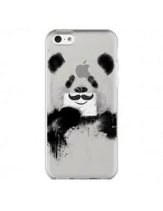 Coque Funny Panda Moustache Transparente pour iPhone 5C - Balazs Solti