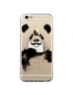 Coque iPhone 6 et 6S Funny Panda Moustache Transparente - Balazs Solti