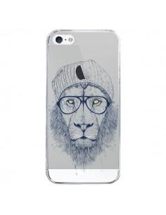 Coque iPhone 5/5S et SE Cool Lion Swag Lunettes Transparente - Balazs Solti