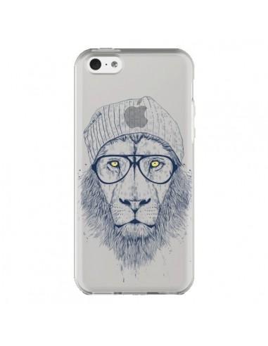 coque iphone 5c cool lion swag lunettes transparente balazs solti