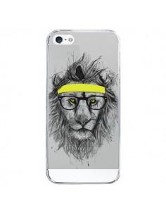 Coque iPhone 5/5S et SE Hipster Lion Transparente - Balazs Solti