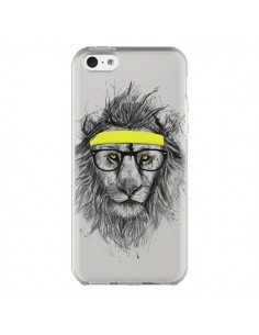 Coque iPhone 5C Hipster Lion Transparente - Balazs Solti