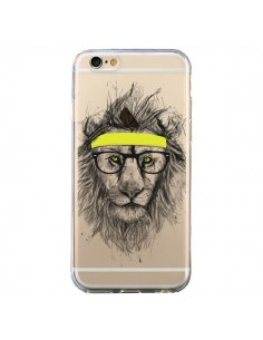 Coque iPhone 6 et 6S Hipster Lion Transparente - Balazs Solti