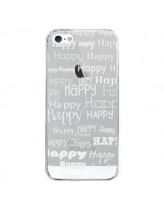 Coque Happy Happy Blanc Transparente pour iPhone 5/5S et SE - R Delean