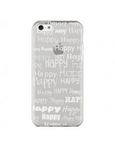 Coque Happy Happy Blanc Transparente pour iPhone 5C - R Delean
