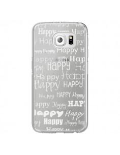 Coque Happy Happy Blanc Transparente pour Samsung Galaxy S6 Edge - R Delean