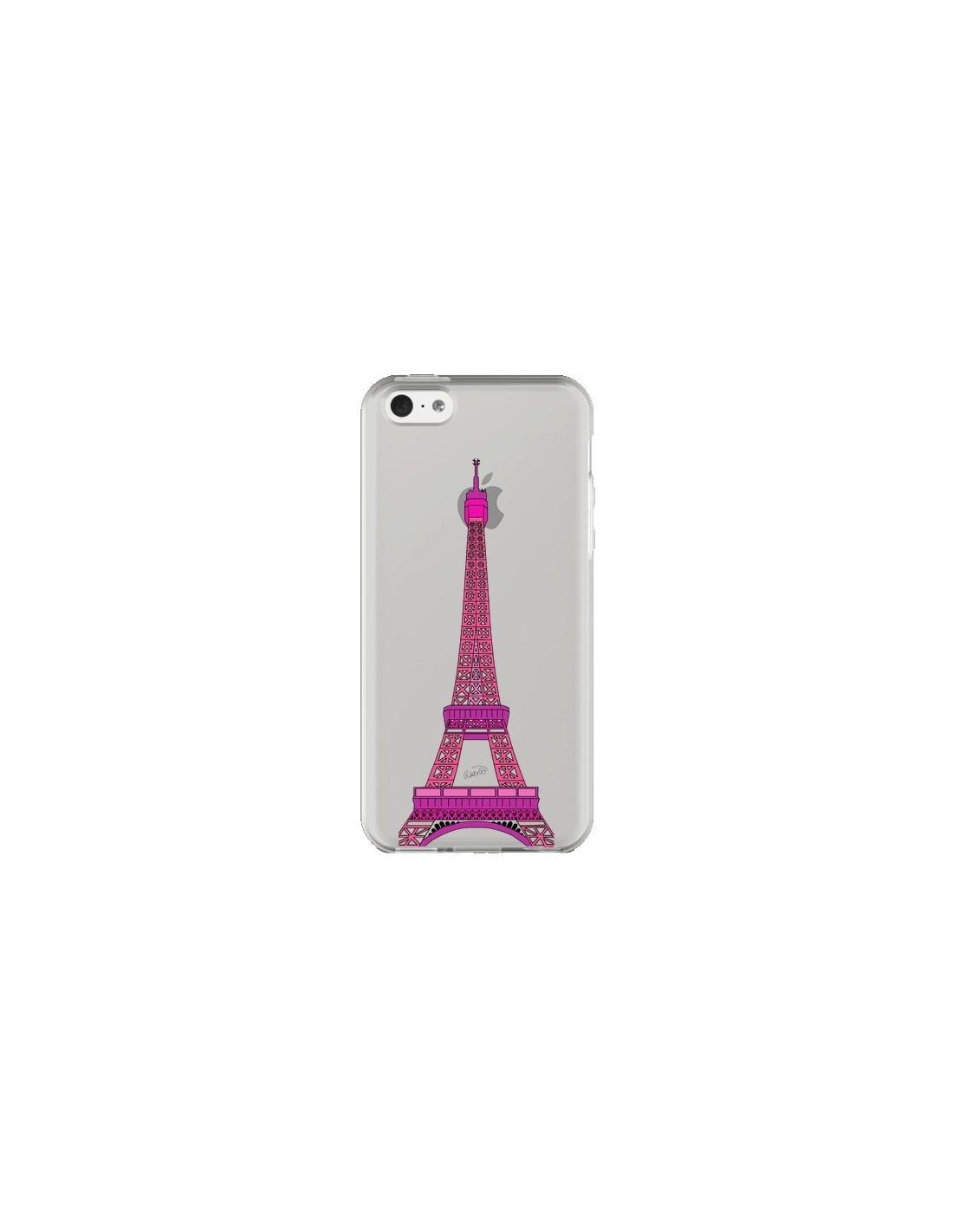 Coque iPhone 5C Tour Eiffel Rose Paris Transparente - Asano Yamazaki