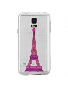 Coque Tour Eiffel Rose Paris Transparente pour Samsung Galaxy S5 - Asano Yamazaki