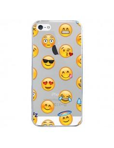 Coque iPhone 5/5S et SE Smiley Emoticone Emoji Transparente - Laetitia