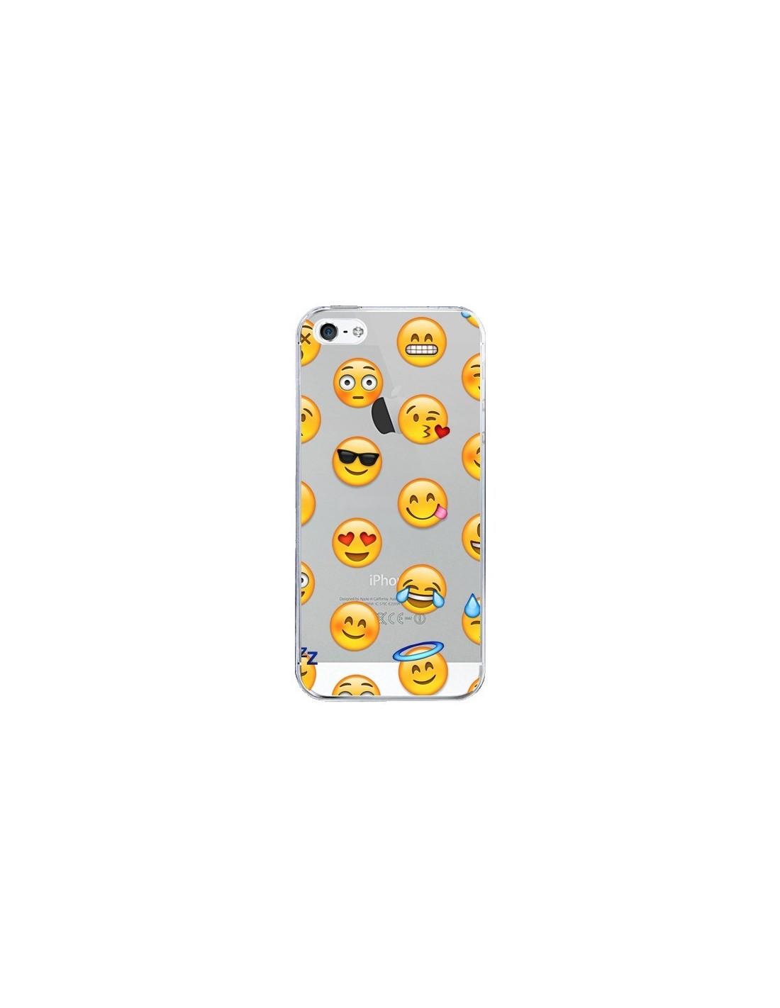 coque iphone 5 5s se smiley emoticone emoji transparente laetitia
