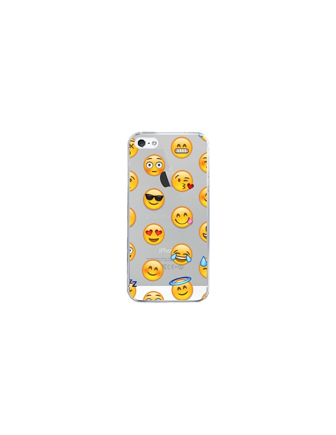 coque smiley emoticone emoji transparente pour iphone 5 et 5s laetitia. Black Bedroom Furniture Sets. Home Design Ideas