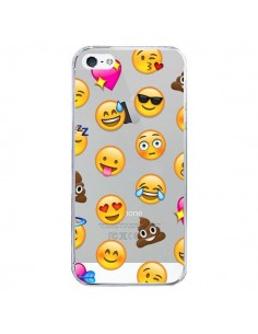 Coque iPhone 5/5S et SE Emoticone Emoji Transparente - Laetitia
