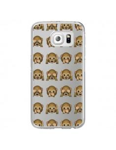 Coque Singe Monkey Emoticone Emoji Transparente pour Samsung Galaxy S6 Edge - Laetitia