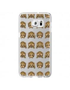 Coque Singe Monkey Emoticone Emoji Transparente pour Samsung Galaxy S6 Edge Plus - Laetitia