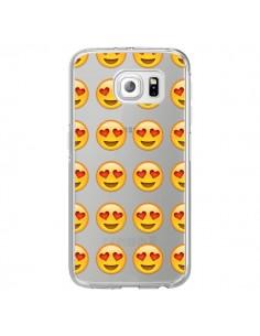 Coque Love Amoureux Smiley Emoticone Emoji Transparente pour Samsung Galaxy S6 Edge - Laetitia