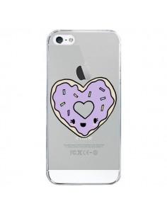 Coque iPhone 5/5S et SE Donuts Heart Coeur Violet Transparente - Claudia Ramos