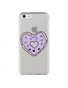 Coque Donuts Heart Coeur Violet Transparente pour iPhone 5C - Claudia Ramos