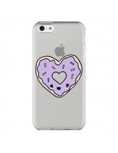 Coque iPhone 5C Donuts Heart Coeur Violet Transparente - Claudia Ramos