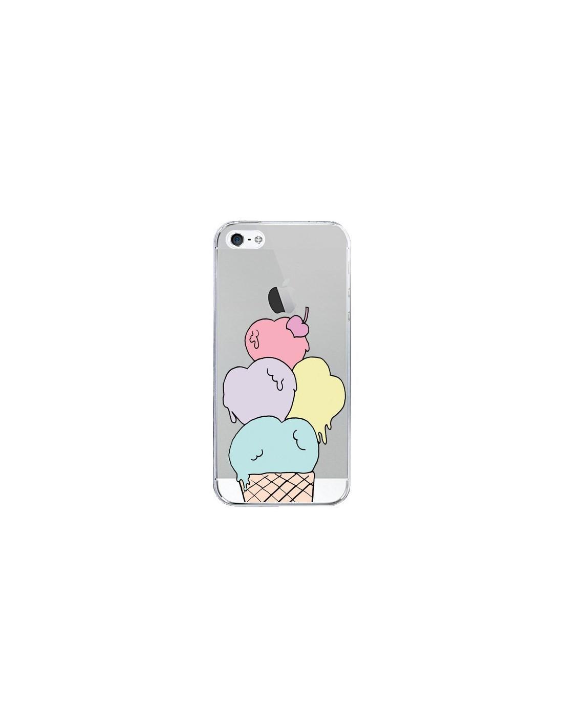 coque iphone 5 5s se ice cream glace summer ete coeur transparente claudia ramos