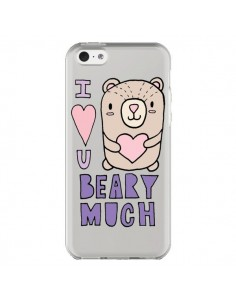 Coque iPhone 5C I Love You Beary Much Nounours Transparente - Claudia Ramos