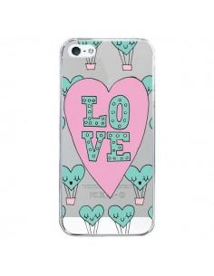 Coque iPhone 5/5S et SE Love Nuage Montgolfier Transparente - Claudia Ramos