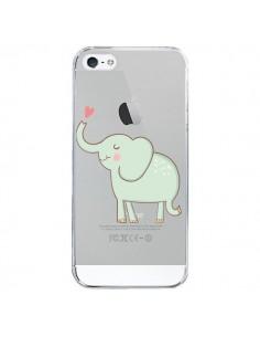 Coque Elephant Elefant Animal Coeur Love Transparente pour iPhone 5/5S et SE - Petit Griffin