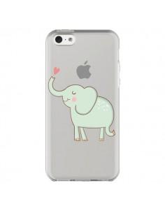 Coque Elephant Elefant Animal Coeur Love Transparente pour iPhone 5C - Petit Griffin