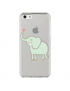 Coque iPhone 5C Elephant Elefant Animal Coeur Love Transparente - Petit Griffin