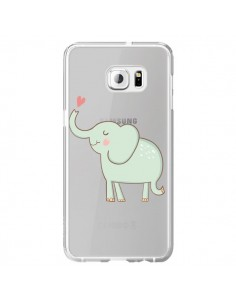 Coque Elephant Elefant Animal Coeur Love Transparente pour Samsung Galaxy S6 Edge Plus - Petit Griffin