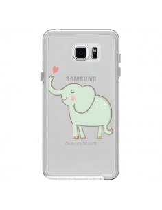 Coque Elephant Elefant Animal Coeur Love Transparente pour Samsung Galaxy Note 5 - Petit Griffin