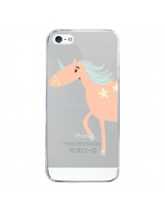 Coque iPhone 5/5S et SE Licorne Unicorn Rose Transparente - Petit Griffin