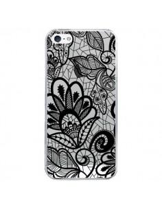 Coque Lace Fleur Flower Noir Transparente pour iPhone 5/5S et SE - Petit Griffin