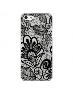 Coque Lace Fleur Flower Noir Transparente pour iPhone 5C - Petit Griffin